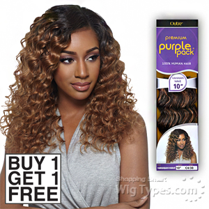 Outre 100% Human Hair Weave - PURPLE PACK HAWAIIAN WAVE 14 (Buy 1 Get 1 FREE)