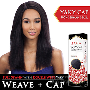 Saga Remy 100% Remy Human Hair Wig - YAKY CAP 20 (Full Sew-In, Double Weft Yaky on a Cap)