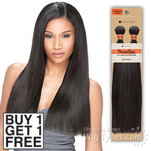 Sensationnel 100% Unprocessed Brazilian Virgin Remy Human Hair - NATURAL YAKI STRAIGHT 20 (Buy 1 Get 1 FREE)