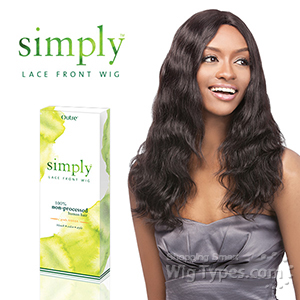 Outre Simply 100% Non-processed Brazilian Virgin Remy Human Hair Lace Front Wig - BRAZILIAN NATURAL WAVE