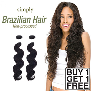 Outre Simply 100% Non-processed Brazilian Virgin Remy Human Hair Weave - BODY WAVE 16 (Buy 1 Get 1 FREE)