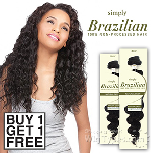 Outre Simply 100% Non-processed Brazilian Virgin Remy Human Hair Weave - NATURAL DEEP (Buy 1 Get 1 FREE)