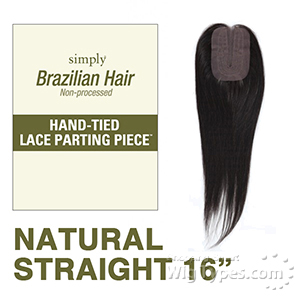 Outre Simply 100% Non-processed Brazilian Hand-tied Lace Parting Top Piece Closure - NATURAL STRAIGHT 16